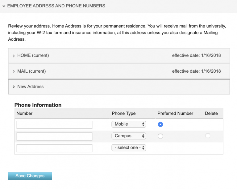 Address and phone numbers field