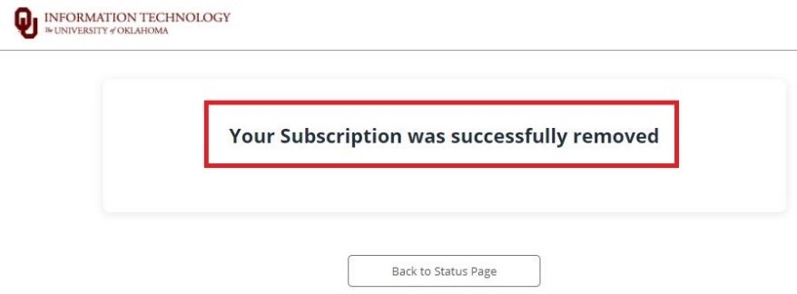 Subscription successfully remove text