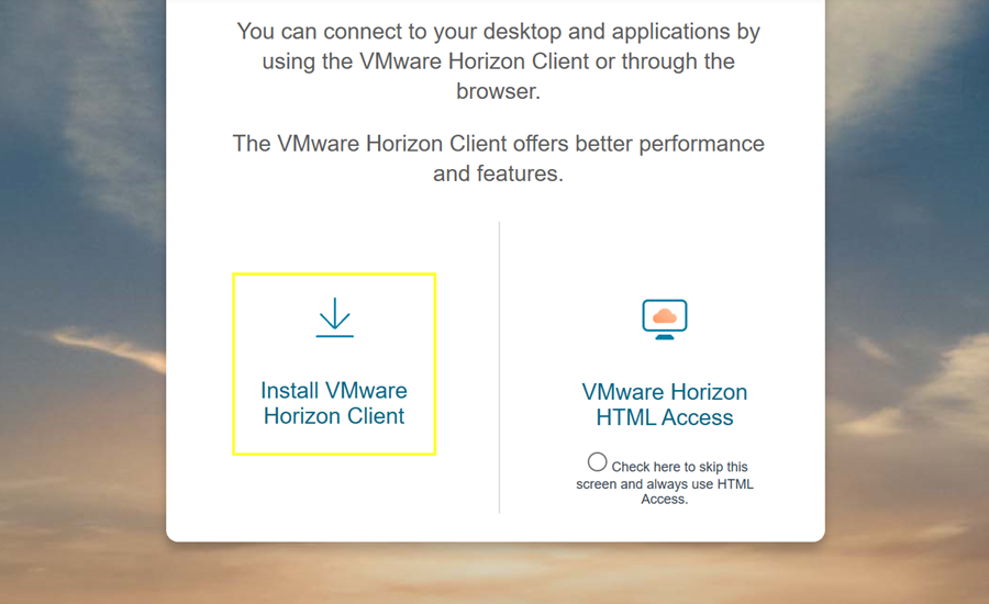 MyDesk VMWare options with Install highlighted