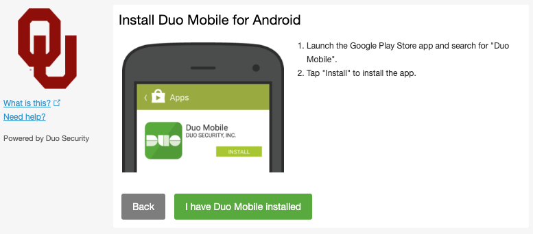 Duo Android install prompt