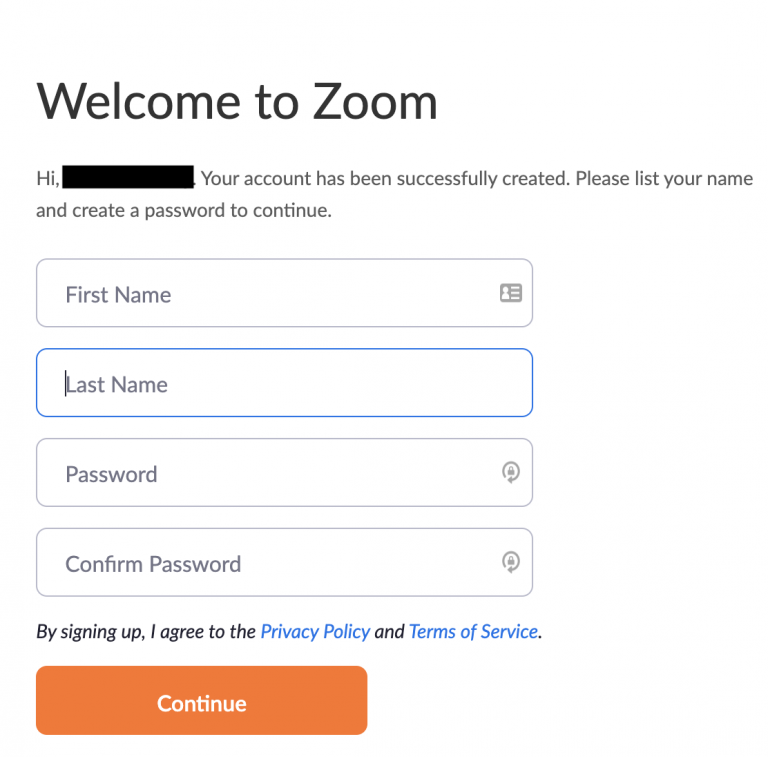 Welcome to Zoom message