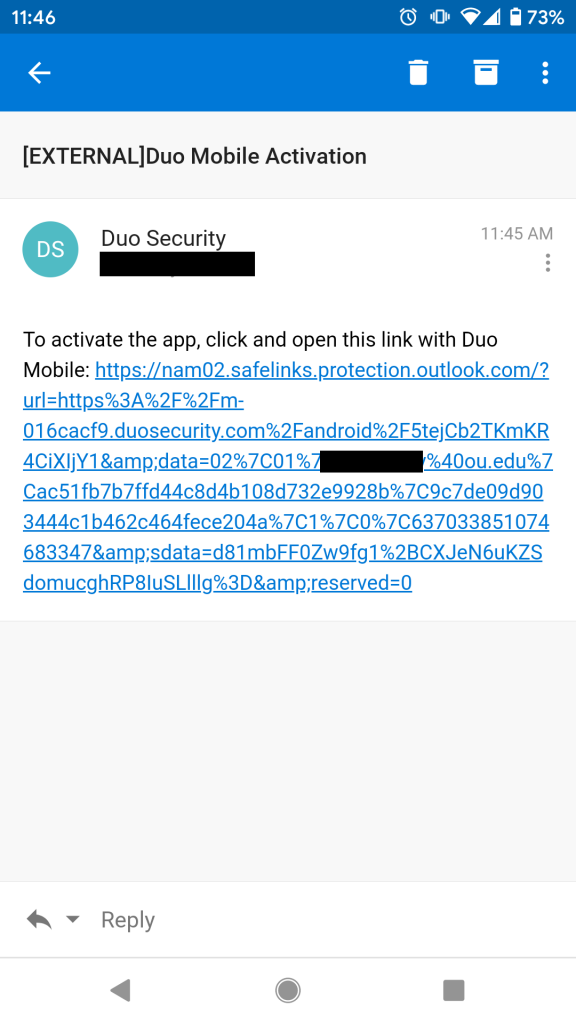 Duo Activation Email