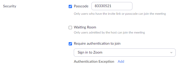 Zoom Passcode menu