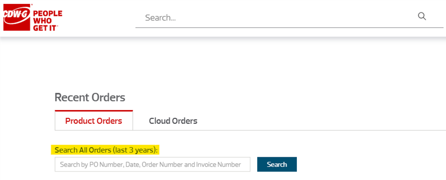 Tracking page with Recent Orders Tab highlighted