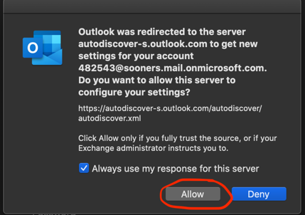 Autodiscovery message text