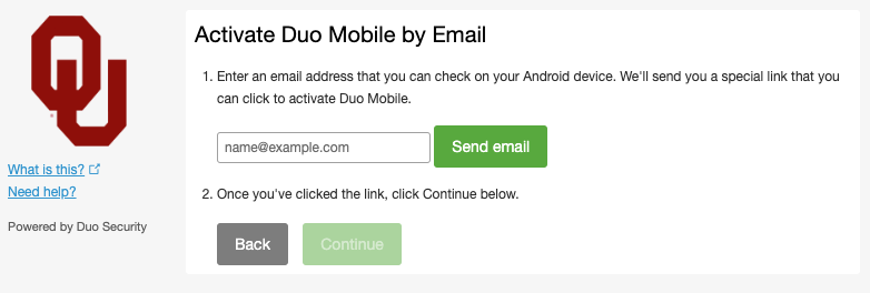 Duo Activate by Email Screen