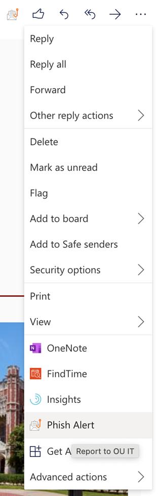 Outlook options menu