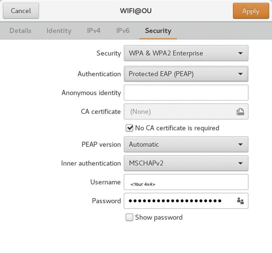 Wifi settings menu