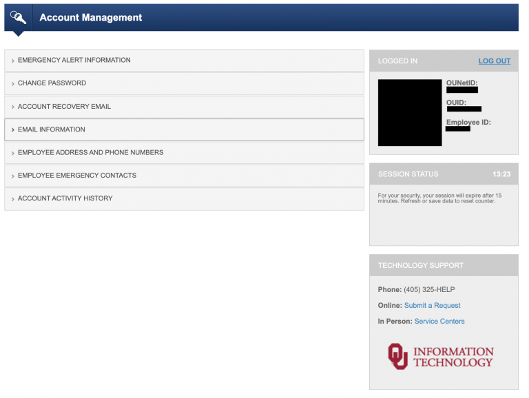 Picture of Account Management menu