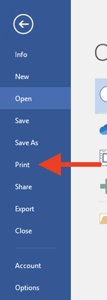 Word with File menu selected and Print highlighted