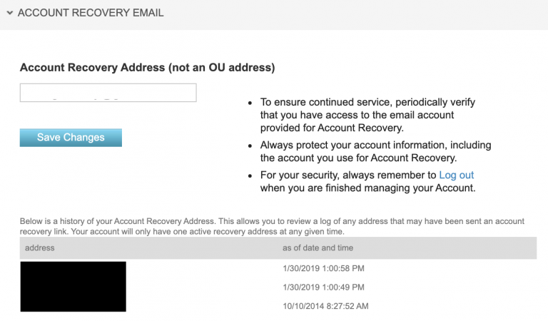 Account recovery address field